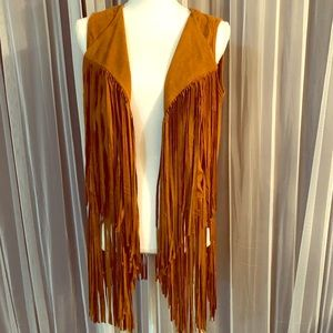 Faux suede fringed vest. So fun!!